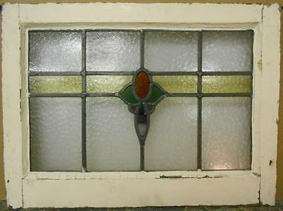 "MID SIZED OLD ENGLISH LEADED STAINED GLASS WINDOW Floral Stripe 22.25"" x 16.5"""