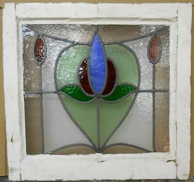 "EDWARDIAN ENGLISH LEADED STAINED GLASS WINDOW Floral Scene 18.25"" x 17.5"""
