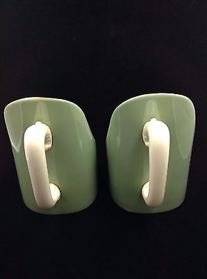 Pair Of Vintage Lenox Greenchambersticks Candleholders With Handle - Mint!!! Usa