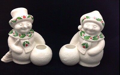 Vintage Lenox Holiday Mr. Snowman And Wife Candle Holders