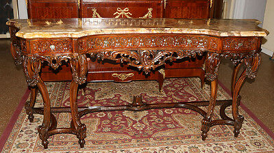 Incredible French Carved Walnut Marble Sideboard Grande Buffet 1920s RESTORED!