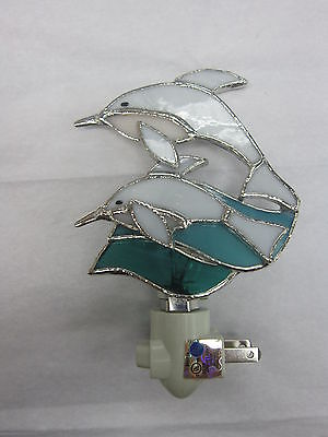 Stained Glass Dolphins Night Light