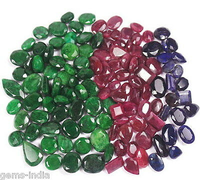 1375 Cts/126 Pcs Natural Emerald Ruby and Blue Sapphires Wholesale Gemstones Lot