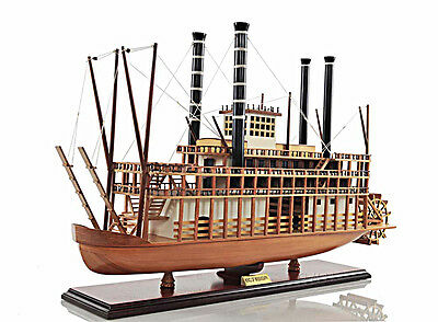 "King Of Mississippi Paddlewheel Steamboat Wooden Riverboat Model 30"" Ferry Boat"