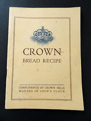 EARLY Crown Flour Mills BREAD RECIPE Booklet 24 Pages CROWN Logo Front YELLOWARE