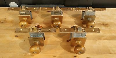 Vintage Brass Door Knob Mortise Lock Set w/ Key by Hauserman - Antique Exterior