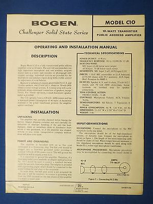Bogen C10 Instruction Manual With Schematic Original Factory Issue