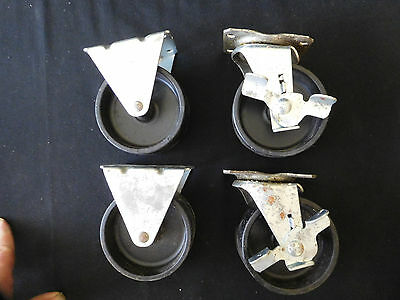 """Set of 4 Swivel Plate Casters with 4"""" Rubber Wheels & 2 with Brakes Base"""