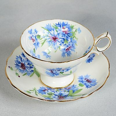 Hammersley Teacup & Saucer - White Decorated With Blue Cornflowers