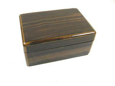 Vintage 1930s solid wood cigarette box or trinket box with boxwood stringing