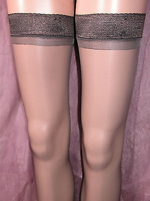 24 x SHEER GLOSS HOLD UP STOCKINGS BARELY BLACK WITH GLOSSY TOPS - PRETTY! BP
