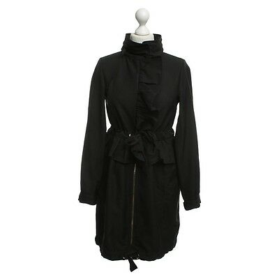RED VALENTINO Parka with flounces Black Polyester Zip pockets Jacket