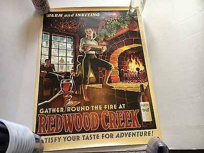Redwood Creek Wine Poster Lady At Fireplace