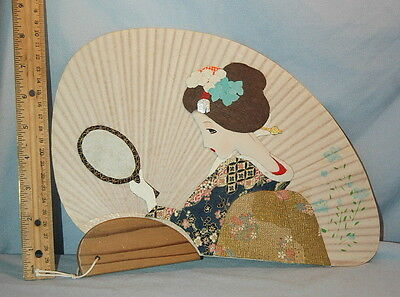 Vintage Traditional Japanese Lady w/ Mirror 3-D Oshie Lovely Decorated Fan Japan