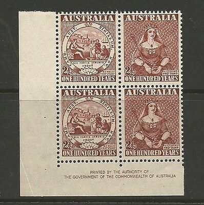 1950 Centenary of first stamps Imprint Block of 4 MUH