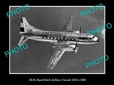 OLD LARGE HISTORIC AVIATION PHOTO OF KLM ROYAL DUTCH AIRLANES CONVAIR 240 c1948