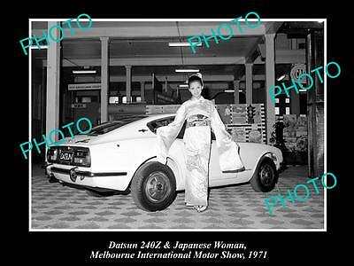 OLD LARGE HISTORIC PHOTO OF DATSUN 240Z AT MELBOURNE MOTOR SHOW c1971