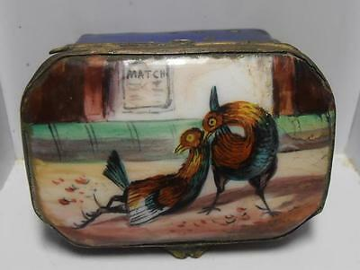Lovely Antique Enamel Patch Box Circa 1850 With Cock Fighting Scene To Lid