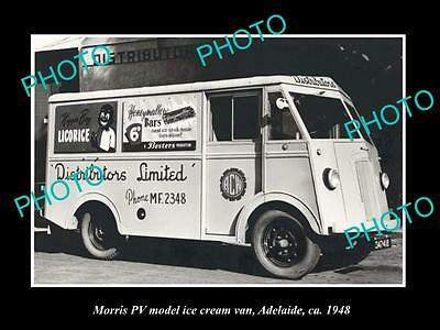 OLD LARGE HISTORIC PHOTO OF ADELAIDE SA LOLLY VAN, MORRIS PV MODEL c1948