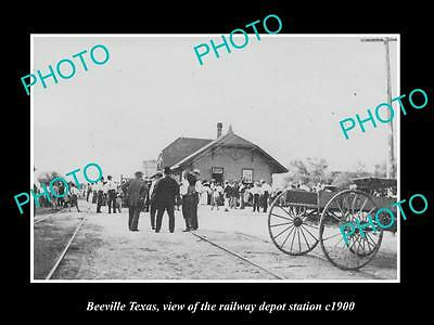 OLD LARGE HISTORIC PHOTO OF BEEVILLE TEXAS,THE RAILROAD DEPOT STATION c1900