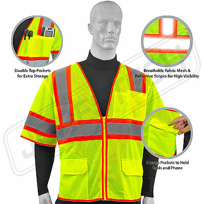 Hi Vis Safety Vest Reflective Sleeved Work ANSI Class 3, Pockets, Jorestech