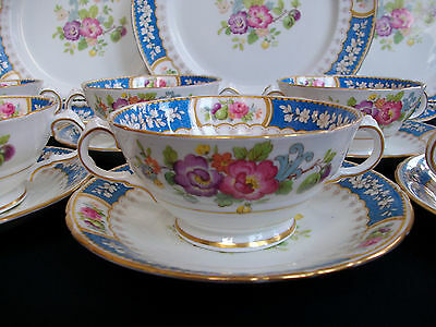 SUTHERLAND CHINA, H&M- EVESHAM (c.1947+) SOUP BOWL & SAUCER(s)- EXCELLENT! GILT!