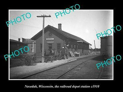OLD LARGE HISTORIC PHOTO OF NECEDAH WISCONSIN, THE RAILROAD DEPOT STATION c1910