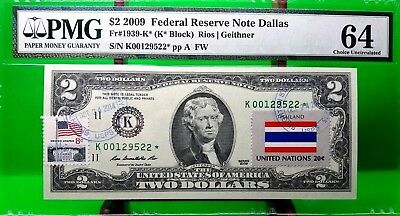 Money Us $2 Dollars Federal Reserve Star Note 2009 Pmg  The Flag Of Thailand