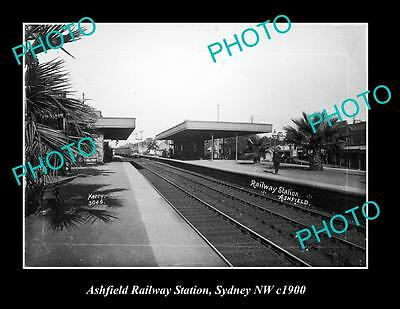 OLD LARGE HISTORIC PHOTO OF ASHFIELD NSW, VIEW OF RAILWAY STATION c1900