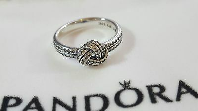 Pandora Sparkling Love knot Ring. Size 60  S925 ALE with Pandora Pouch