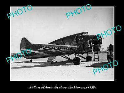 OLD LARGE HISTORIC PHOTO OF AIRLINES OF AUSTRALIA PLANE, THE LISMORE c1950s