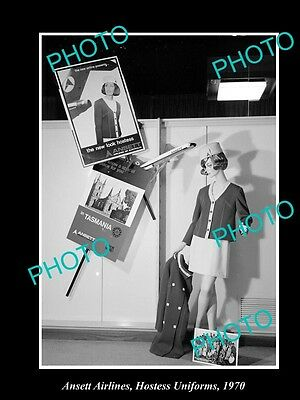 OLD LARGE HISTORIC PHOTO OF ANSETT AIRLINES HOSTESS UNIFORMS c1970