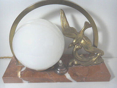Art Deco Bronze Bird Figure French Table Lamp Glass Globe Marble Base
