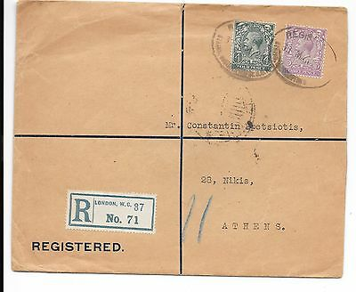 GB registered cover to Greece