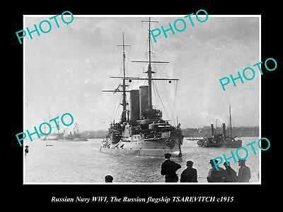 OLD LARGE HISTORIC PHOTO OF RUSSIAN NAVY WWI, THE BATTLESHIP TSAREVICH c1915 1
