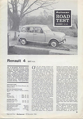 Renault 4 Car 845cc Period Road Test Reprinted from Autocar 1966