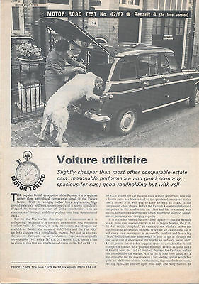 Renault 4 De Luxe Period Road Test Reprinted from Motor 1967
