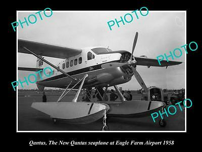 OLD LARGE HISTORIC PHOTO OF THE NEW QANTAS SEAPLANE AT EAGLE FARM AIRPORT c1958