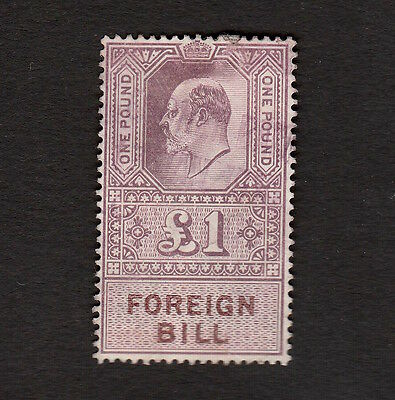 Great Britain King Edward Vii One Pound Foreign Bill Fiscal Stamp