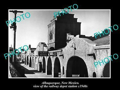 OLD LARGE HISTORIC PHOTO OF ALBUQUERQUE NEW MEXICO, THE RAILROAD DEPOT c1940s