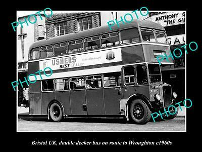 OLD LARGE HISTORIC PHOTO OF BRISTOL ENGLAND, DOUBLE DECKER BUS, WROUGHTON c1960