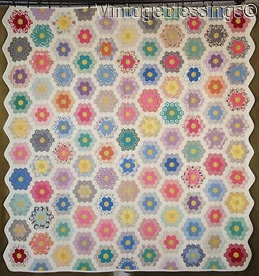 Tiny Pieces! Fussy Cut Vintage 30s Grandmothers Flower Garden QUILT 77x73
