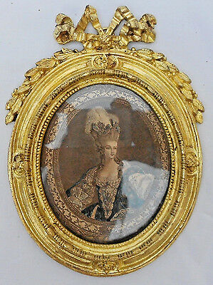 Very Very Antique French Gilt Bronze Ribbons Oval Hanging Picture Frame