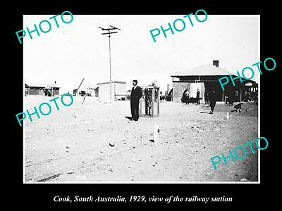 OLD LARGE HISTORIC PHOTO OF COOK SOUTH AUSTRALIA, THE RAILWAY STATION c1929