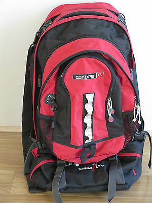Caribee Tomahawk Red Travel & Camping Backpack 65/75L with Daypack Rucksack