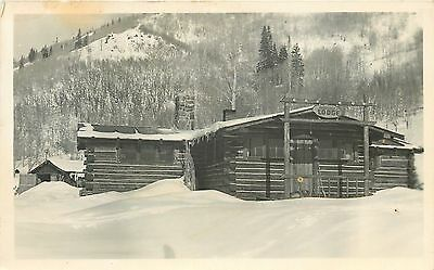 Valley View Lodge~Snowed-In Log Cabin~Whisk Broom~Real Photo Postcard c1950