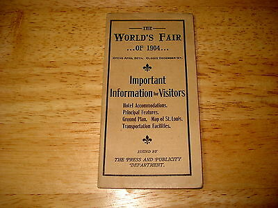 1904 World's Fair St Louis Information Booklet with Fold Out Map