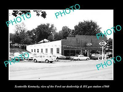OLD LARGE HISTORIC PHOTO OF SCOTTSVILLE KENTUCKY, THE FORD CAR DEALERSHIP c1960