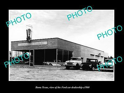 OLD LARGE HISTORIC PHOTO OF BUNA TEXAS, THE FORD MOTORS CAR DEALERSHIP c1960