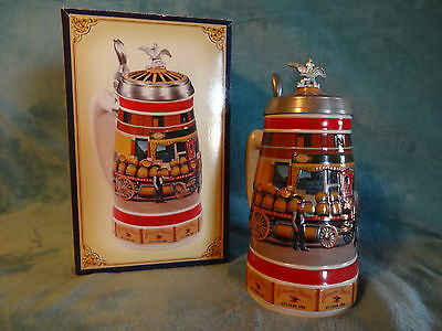 Anheuser-Busch 1890's Budweiser Barrel Wagon Stein / EARLY DELIVERY DAYS SERIES